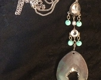 Long statement agate necklace