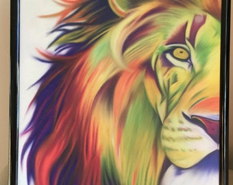 Colourful Lion Print, A4 Print, Digital Art, Lion, Animal, Gift, For Him, For Her