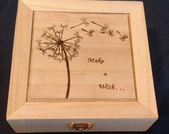 Woodburned Trinket Box