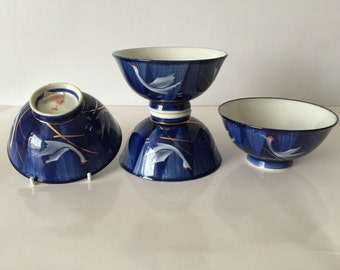 set of four japanese rice bowls