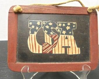 USA Privitive /Folkart Slate Or Small Blackboard Wall Hanging