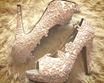 Naturally hand dyed blush lace stilettos