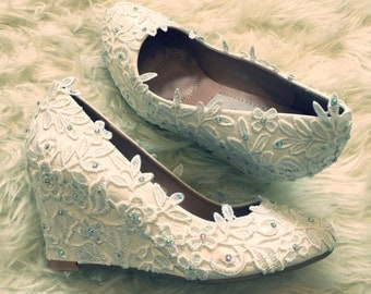 Ivory or White Lace Bridal Wedges