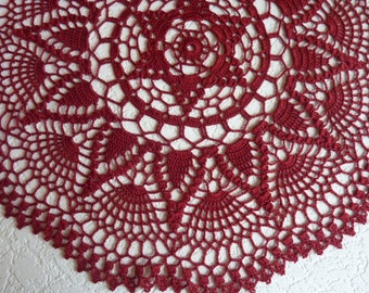 crochet doily,red doily,burgundy,crochet tablecloth,red lace doily,red table centerpie,lace table cloth,dark red doily,beautiful doily