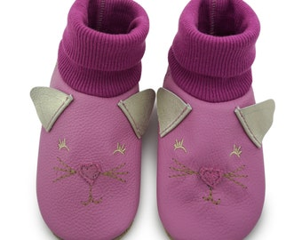 Baby shoes, leather sock cat face lilac LS4