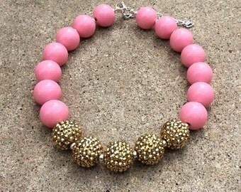 girls necklace,gold,pink,bubblegum,first birthday,necklace,photo prop,princess,1st birthday,jewelry,toddler,baby girl