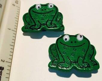 2 Vintage 1980's Frog Magnets