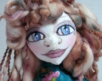 Elf Cloth Art Doll Bust OOAK, Wild Fantasy Fairy Pixie Soft Sculpture Shelf Sitter, JDCreativeDolls
