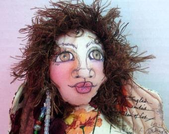 Fairy Faery Fae OOAK Cloth Art Doll Flower Fabric Sprite Pixie Angel OOAK Art Doll