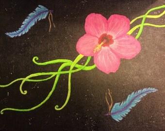 Hawaiian flower with feathers acrylic painting