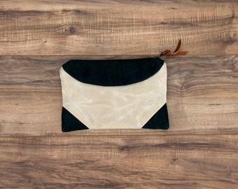 Peninah Green Leather Clutch