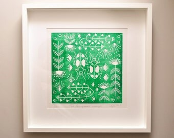 Panagaeus Crux Major in green, limited edition scandinavian folk art, linocut print
