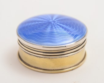 Silver Pill Box with Blue Guilloche Enamel Top, Birmingham 1923