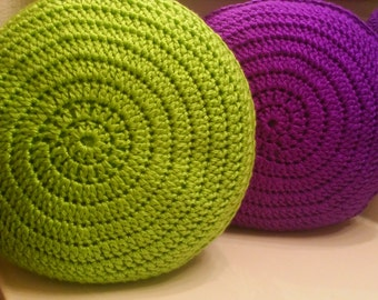 crocheted pillow