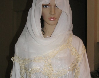 Ivory scarf, shawl, veil, hijab with crocheted lace
