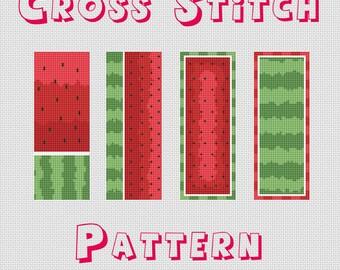 Watermelon bookmarks cross stitch pattern pdf watermelon cross stitch pattern bookmarks cross stitch pattern modern cross stitch pattern pdf