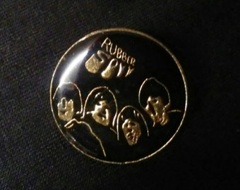 Vintage Black Beatles Rubber Soul Pin