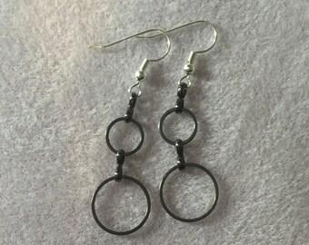 Silver/Black loop Earrings