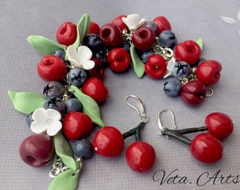 Polymer clay bracelet and earings