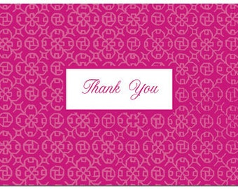 50 Modern & Fun Fuchsia THANK YOU Cards for Wedding, Anniversary, Party, General Use DIY Inkjet Ready!