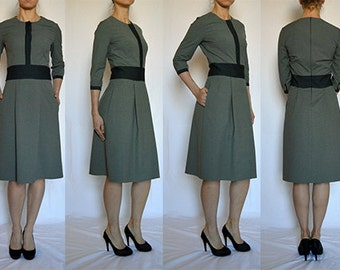 SALE  Shirt style, grey, A line, with side pockets, comfortable, elegant, casual dress Size UK 14 / US 10