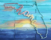 State of Florida is Home- Nail and String Art on A Handpainted Sunset Background