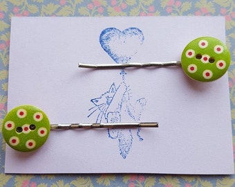 Handmade wooden button bobby pins - set of two 15mm green, red and white wooden button bobby pin hairclips