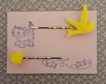 Handmade small yellow rose and bird bobby pins - set of two bobby pin hair clips, 1 yellow rose and 1 yellow bird