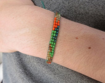 Handmade Woven Bead Bracelet- Khaki print