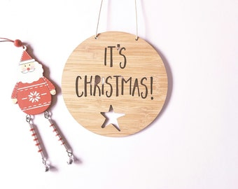 It's Christmas! Wooden Bamboo Door / Wall Hanging with Heart 14cm or 19.5cm
