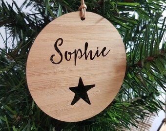 Personalised Wood Christmas Decoration / Ornament Star