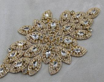 Gold applique trim, Bridal Applique, Gold trim, Rhinestone trim, rhinestone applique, crystal sash, bridal sash, headband wedding headpiece