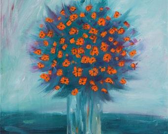 Orange Flowers. Original Oil Painting. Free Shipping