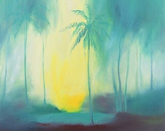 Tropical Landscape. Cool Morning. Original Oil Painting. Free Shipping