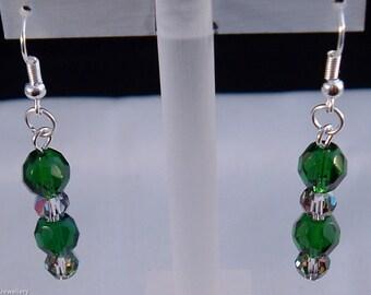 Emerald Glass Bead Earrings, Preciosa Glass Bead Earrings, Fire Polished Bead Earrings, Glass Bead Earrings, Handmade Earrings