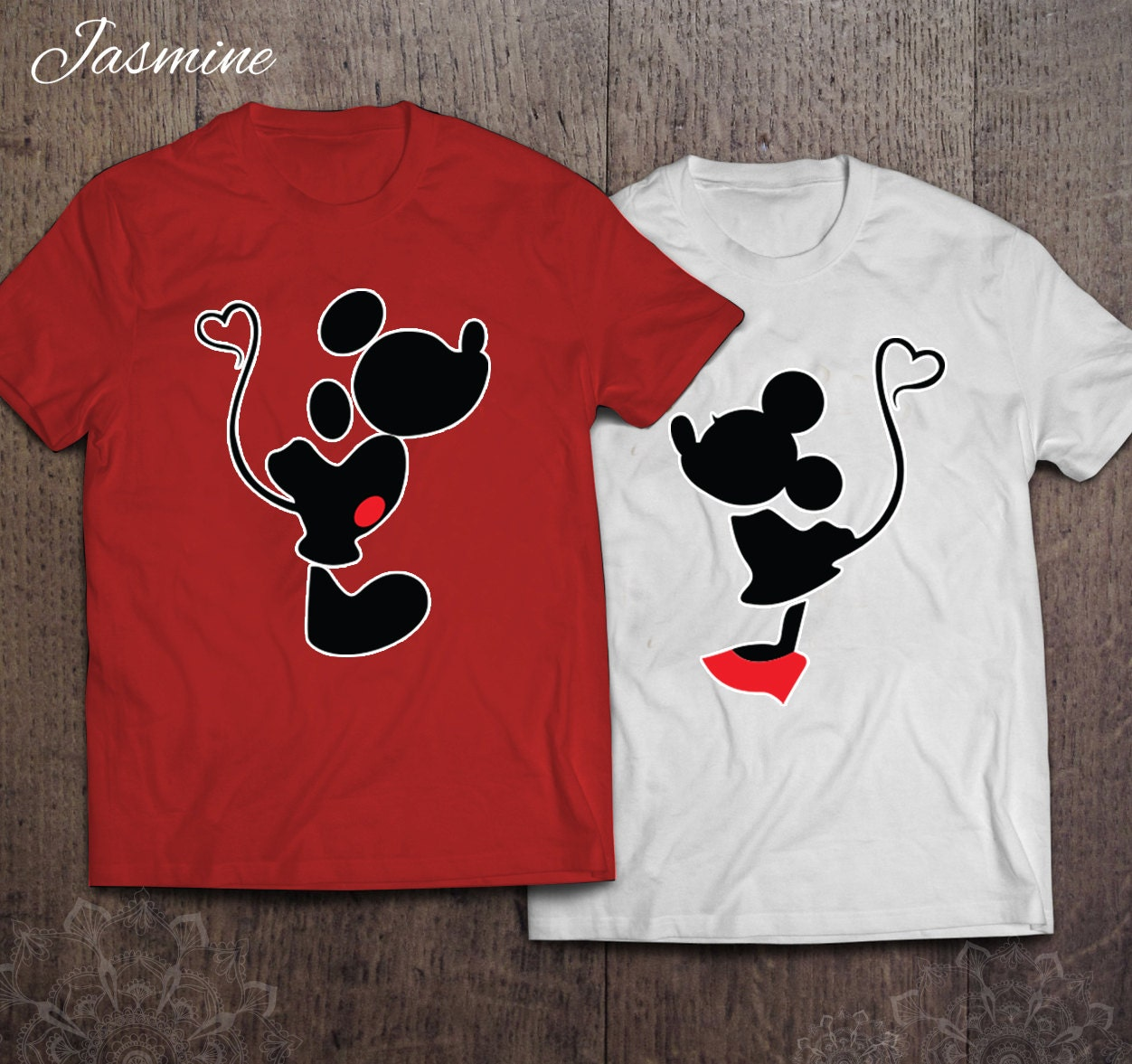 Mickey And Minnie Couples Shirts Mickey and Minnie Kiss...