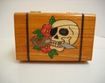 Skull And Flowers Wooden Trinket Box