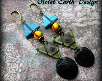 African Tribal Triangle Earrings, Hand Painted Bronze, Mother of Pearl Yellow Turquoise Green Black Bohemian Ethnic