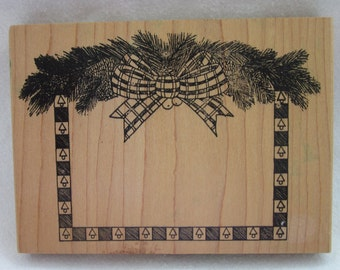 Pine Cone Swag with Checked Bow Border Rubber Stamp - Art Gecko Stamp Co.