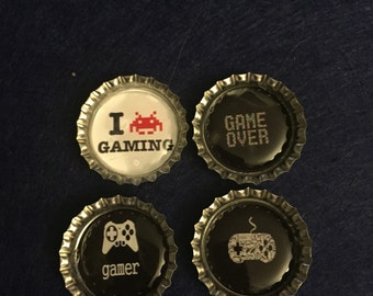 Gamer Bottle Cap Magnets - Set of 4