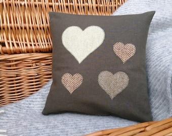 Green Tartan and Tweed heart Cushion