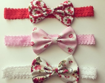 Fabric Bow With Lace Baby Headbands Vintage Newborn Shabby Chic Girl + Lot