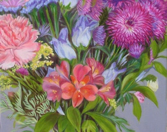Flowers III Original Floral Oil Painting 16 x 20 inch Stretched Linen Canvas