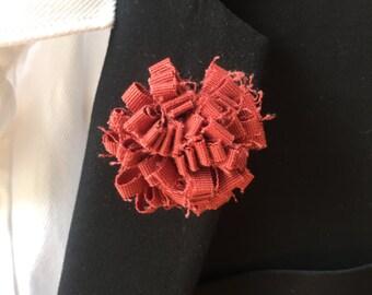 Red Burgundy Mens lapel pin, Lapel pins men, Flower lapel pin, Mens lapel flower, Lapel pin, Lapel flower