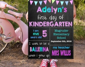 Kindergarten School Signs, Grade School Signs, Kids Photo Prop, 1st Day Of School, Back To School Signs, First Day Of Kindergarten