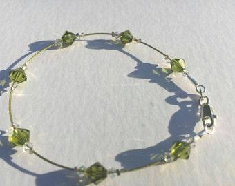 Olive Swarovski Bracelet with 925 Sterling Silver