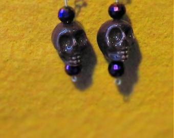 Handmade, vintage style earrings /Purple Skulls