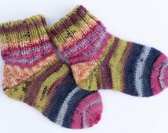 Hand Knitted Wool Socks EUR 18/19, UK kids 2/3