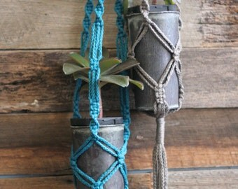 Macrame Plant Hangers, twin hangers with tin pots - Smoke/Sapphire