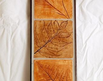 Leaf Impressions Tile Triptych #1